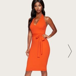 Bebe halter belted knit dress in poinciana color
